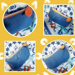 Small pouches  Jean's with orange zip